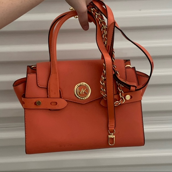 MICHAEL KORS Handbag.Coral color with gold accents